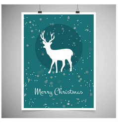 christmas card with snowy background and reindeer vector image