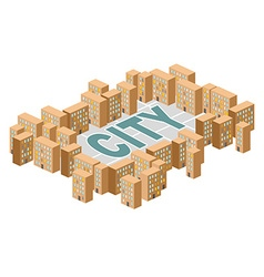 City building Yard among the houses Isometric vector