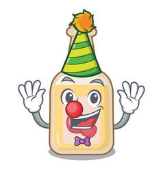 Clown bottle apple cider above cartoon table vector