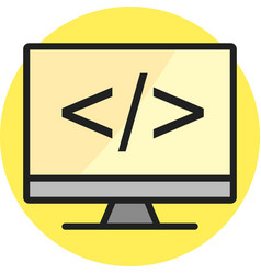 coding on screen line filled icon vector image
