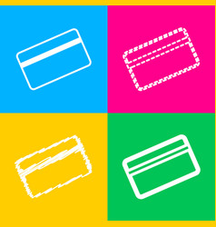 credit card symbol for download four styles of vector image