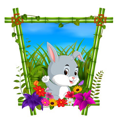 Cute rabbit in bamboo frame with flower scene vector