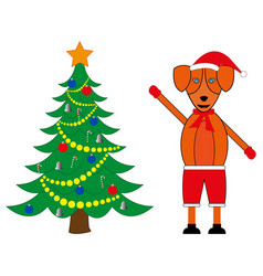 decorated christmas tree and dog symbol of the vector image