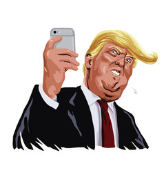Donald trump and social media cartoon vector