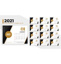 Elegant 2021 new year calendar design template vector