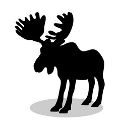 elk mammal black silhouette animal vector image