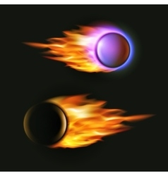 fireball on black background Flying vector image
