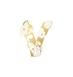 Golden ornamental alphabet letter v font vector