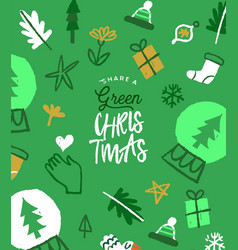green christmas eco friendly doodle greeting card vector image