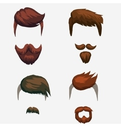 hairstyle mustache and beard hipster vector image