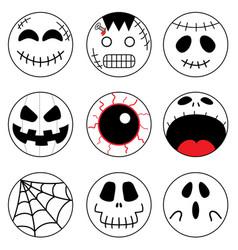 Halloween round sticker set of emoji icon clipart vector