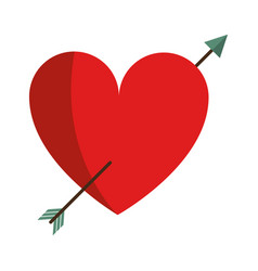 Heart with arrow love valentine vector