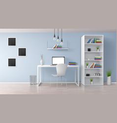 Home office room minimalistic interior vector