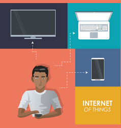 Internet things man with smartphone tv laptop vector