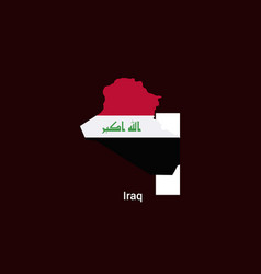 iraq initial letter country with map and flag vector image