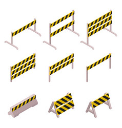 isometric under construction barrier set il vector image
