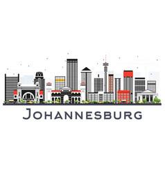 Johannesburg south africa city skyline with gray vector