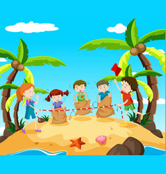 kids in jumping race on the beach vector image
