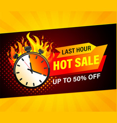 last hour hot sale banner vector image