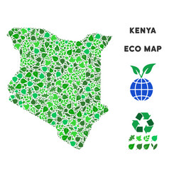 leaf green composition kenya map vector image