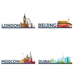 london beijing moscow dubai set tourism vector image