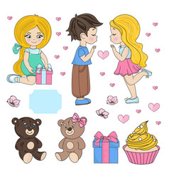 Love party valentines day set vector