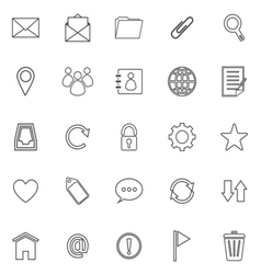 Mail line icons on white background vector image
