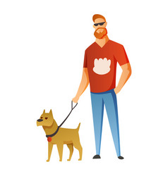 Man with dog isolated on white background holding vector