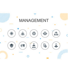 Management trendy infographic template thin line vector