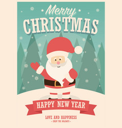 merry christmas card with santa claus on winter vector image