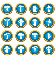 Mushroom icons blue circle set vector