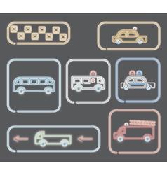 neon transportation symbols vector image