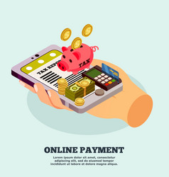 Online payment isometric design concept vector