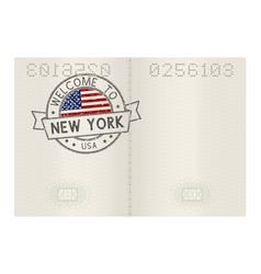 Passport pages with welcome to new york usa vector