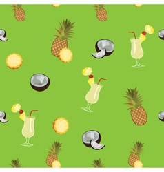 Pina Colada green seamless pattern Pineapple vector