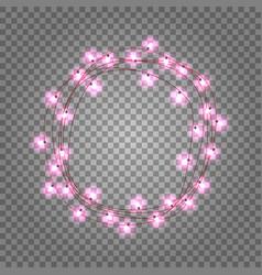 pink light bulbs circle frame on transparent vector image