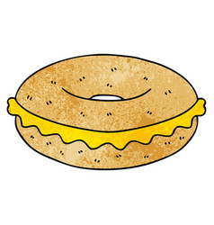 Quirky hand drawn cartoon cheese bagel vector