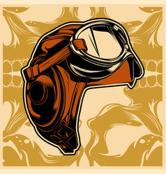 Retro vintage helmet with goggles vector
