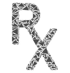 Rx medical symbol mosaic of triangles vector