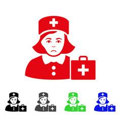 sad first-aid nurse icon vector image