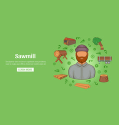sawmill banner horizontal cartoon style vector image