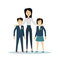 School teacher with pupils vector