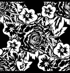 Seamless monochrome pattern of flower vector