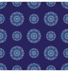 Seamless pattern with circle ornament snowflakes vector image