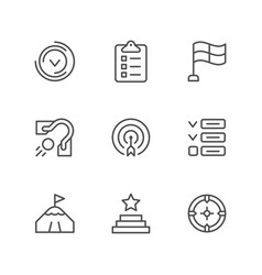 set line icons goal vector image
