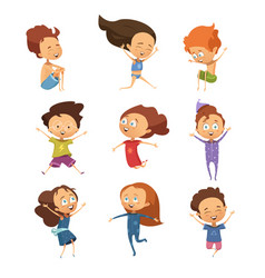 Set of cute cartoon jumping kids vector