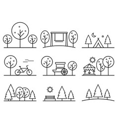 set of outline design icons parkland vector image