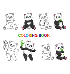 Set of pandas with bamboo for coloring book vector