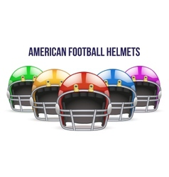 Set of Realistic American football helmet Front vector image