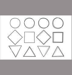 Set of the hand drawn scribble circle square and vector